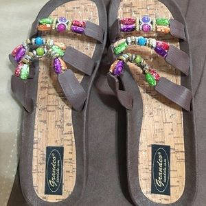 Women's beaded colorful sandals